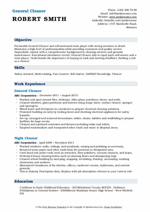 cleaner resume samples qwikresume cleaning description for pdf job professional template Resume Cleaning Description For Resume