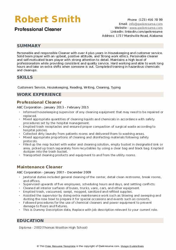 cleaner resume samples qwikresume for cleaning position pdf filler content construction Resume Resume Samples For Cleaning Position