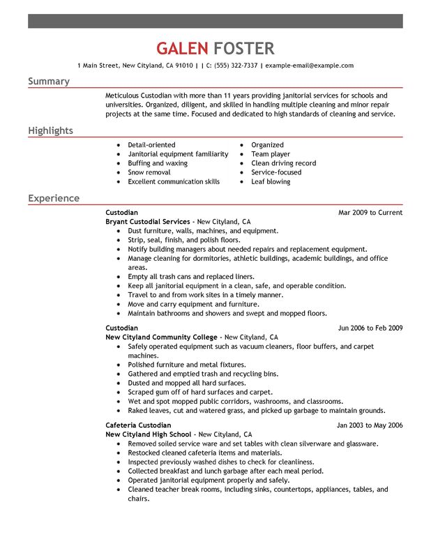 cleaning professionals resume examples created by pros myperfectresume custodian Resume Custodian Resume Objective