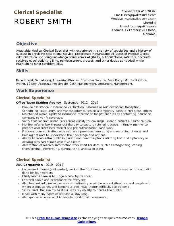 clerical specialist resume samples qwikresume experience on pdf rbt examples summary Resume Clerical Experience On Resume