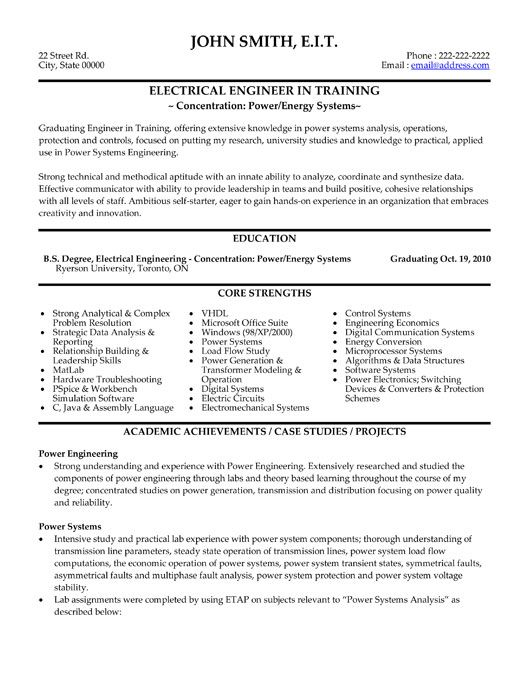 click here to this electrical engineer resume template http resumetemplates101 Resume Fresher Electrical Engineer Resume Sample