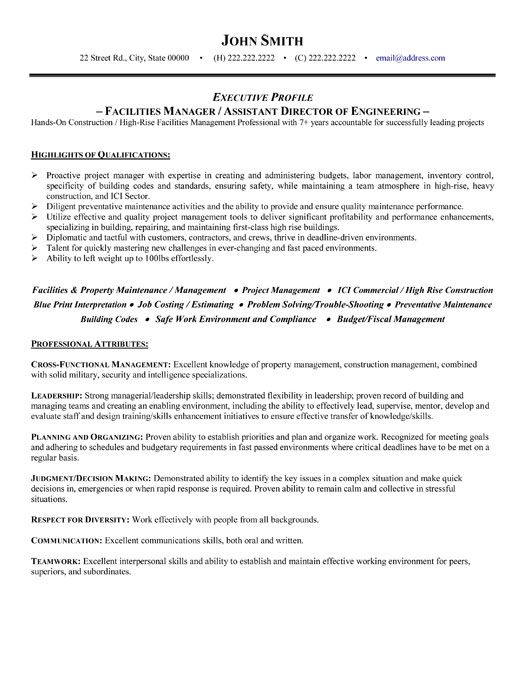 click here to this facilities manager resume template http resumetemplates101 retail Resume Building Maintenance Manager Resume