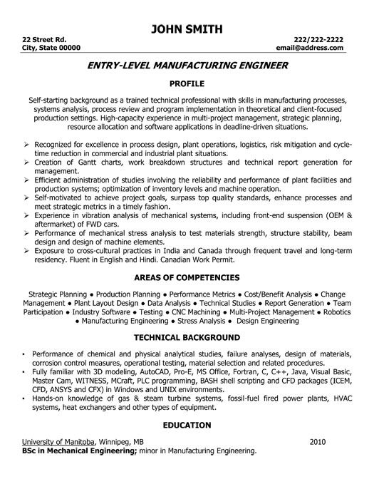 click here to this manufacturing engineer resume template http resum engineering Resume Entry Level Mechanical Engineering Resume