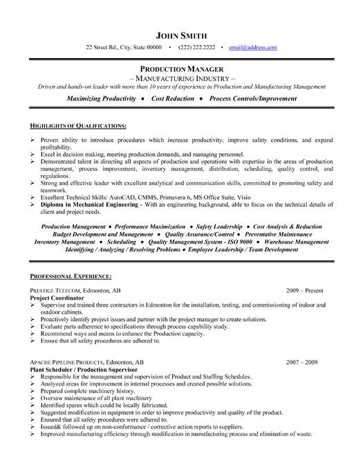 click here to this project manager resume template http resumetemplates101 engineering Resume Project Manager Resume Sample