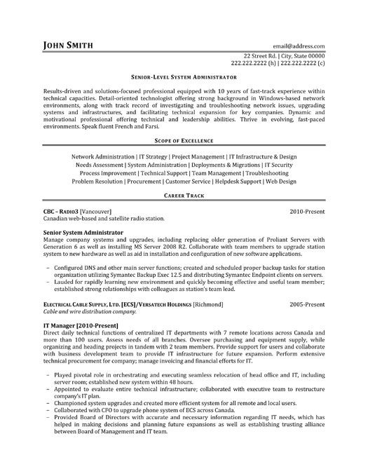 click here to this senior level system administrator resume template http res engineering Resume System Admin Resume Format