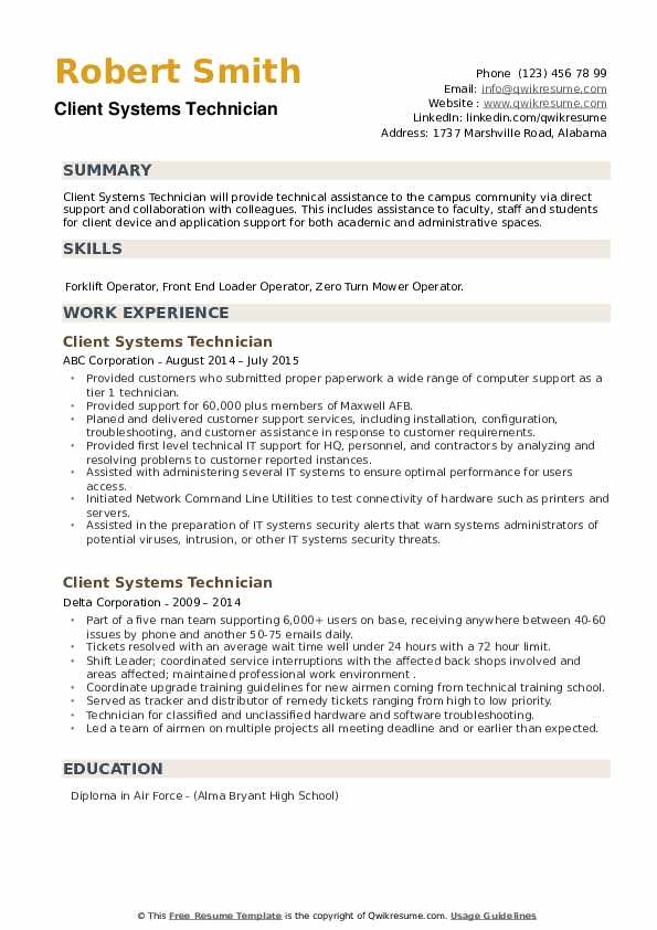 client systems technician resume samples qwikresume air force address for pdf bricklayer Resume Air Force Address For Resume