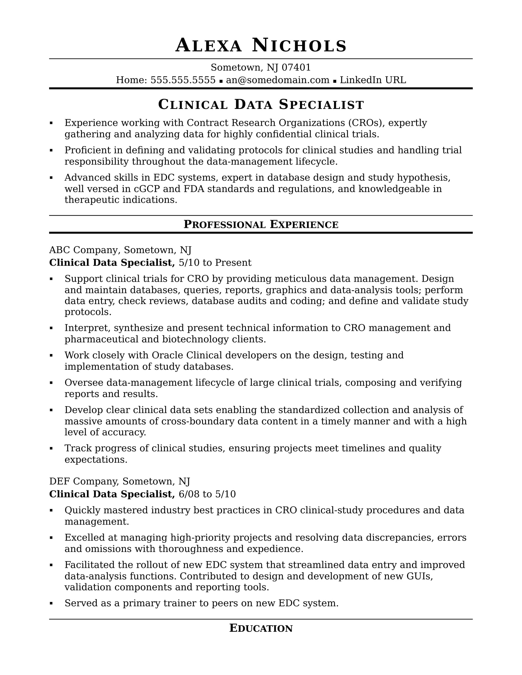 clinical data specialist resume sample monster research format for freshers modeling Resume Clinical Research Resume Format For Freshers