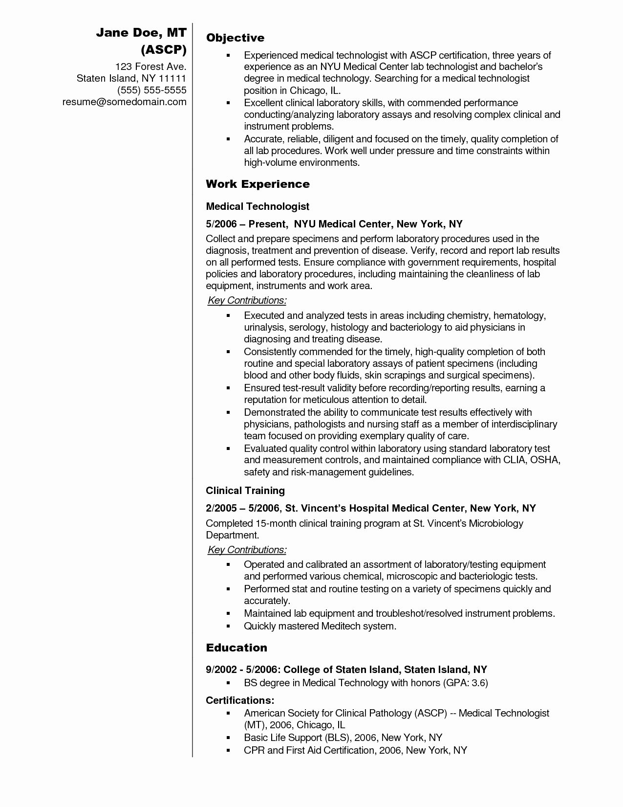 clinical laboratory scientist resume awesome sample medical technologist examples lab Resume Medical Lab Scientist Resume