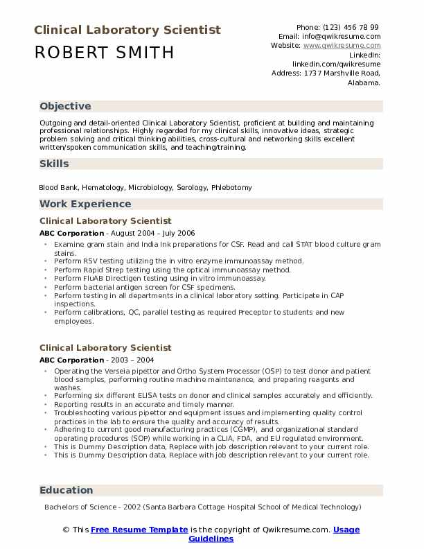 clinical laboratory scientist resume samples qwikresume medical lab pdf housekeeping Resume Medical Lab Scientist Resume