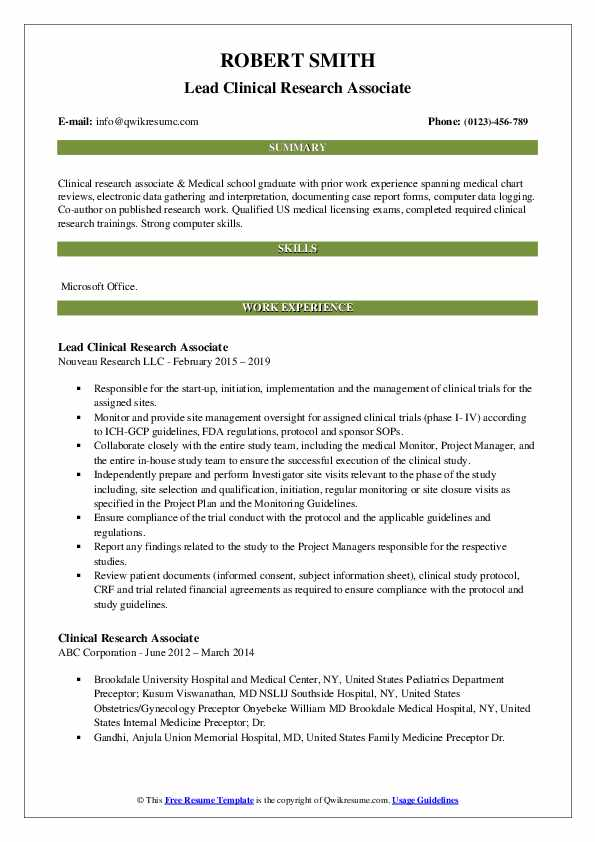 clinical research associate resume samples qwikresume format for freshers pdf galley Resume Clinical Research Resume Format For Freshers