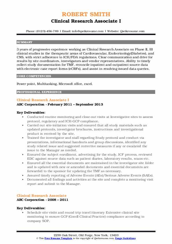 clinical research associate resume samples qwikresume template pdf business owner Resume Clinical Research Associate Resume Template