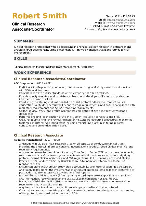 clinical research associate resume samples qwikresume template pdf with little experience Resume Clinical Research Associate Resume Template