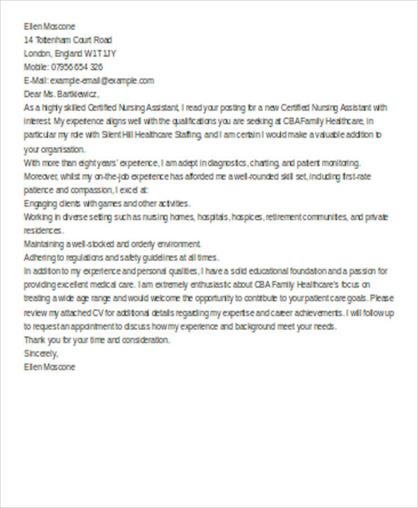 cna resume cover letter examples for resumes new sample job application debbycarreau Resume Cna Resume Examples 2018