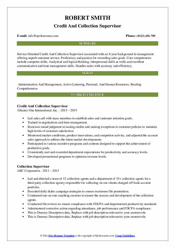 collection supervisor resume samples qwikresume credit and collections pdf wkz builder Resume Credit And Collections Supervisor Resume