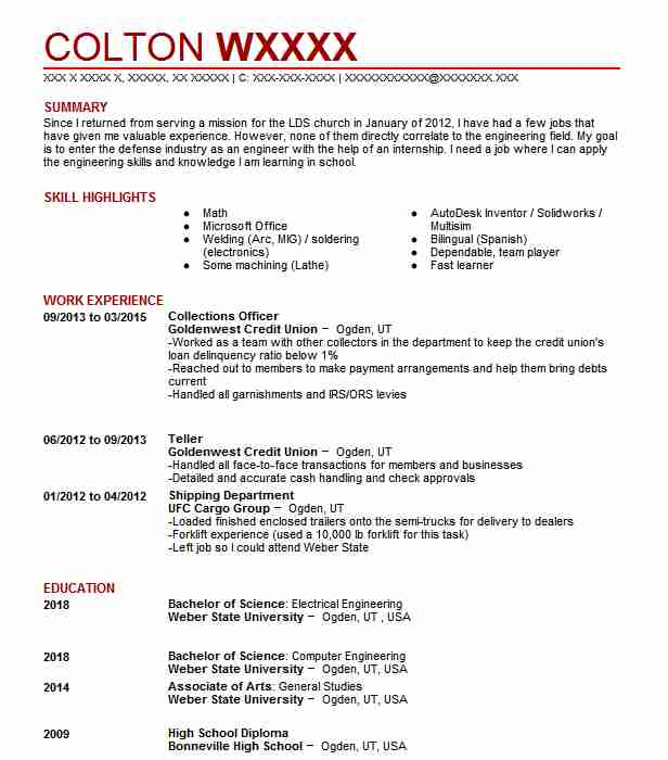 collections officer resume example resumes livecareer representative general construction Resume Collections Representative Resume