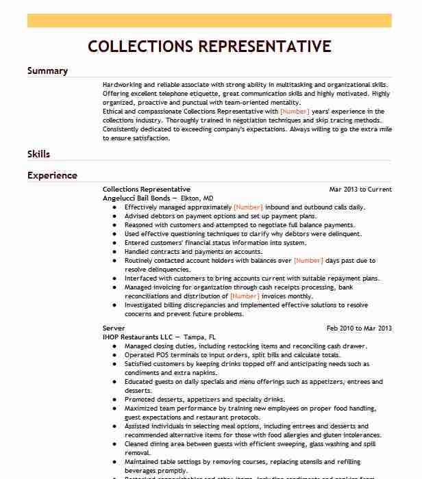collections representative resume example grandview cover letter for administrative Resume Collections Representative Resume