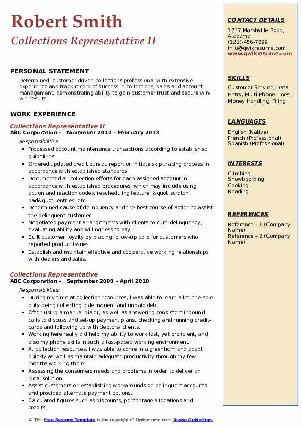 collections representative resume samples qwikresume pdf commercial lines account manager Resume Collections Representative Resume