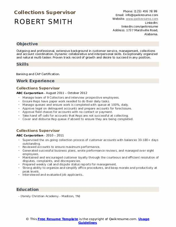 collections supervisor resume samples qwikresume credit and pdf sample for entry level Resume Credit And Collections Supervisor Resume