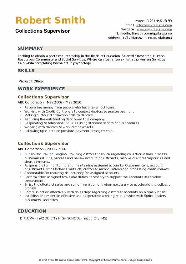 collections supervisor resume samples qwikresume credit and pdf summary or objective Resume Credit And Collections Supervisor Resume