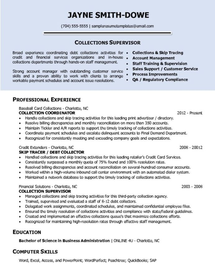 collections supervisor sample resume templates credit and pdf 791x1024 format for back Resume Credit And Collections Supervisor Resume