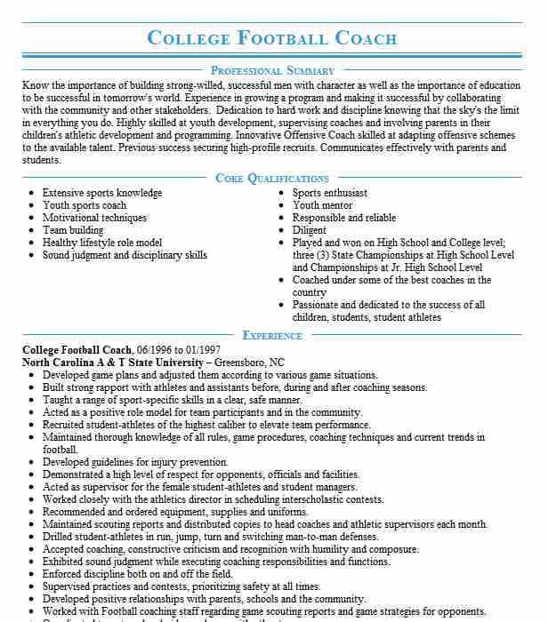 college football coach resume example resumes livecareer objective for coaching monster Resume Objective For Coaching Resume
