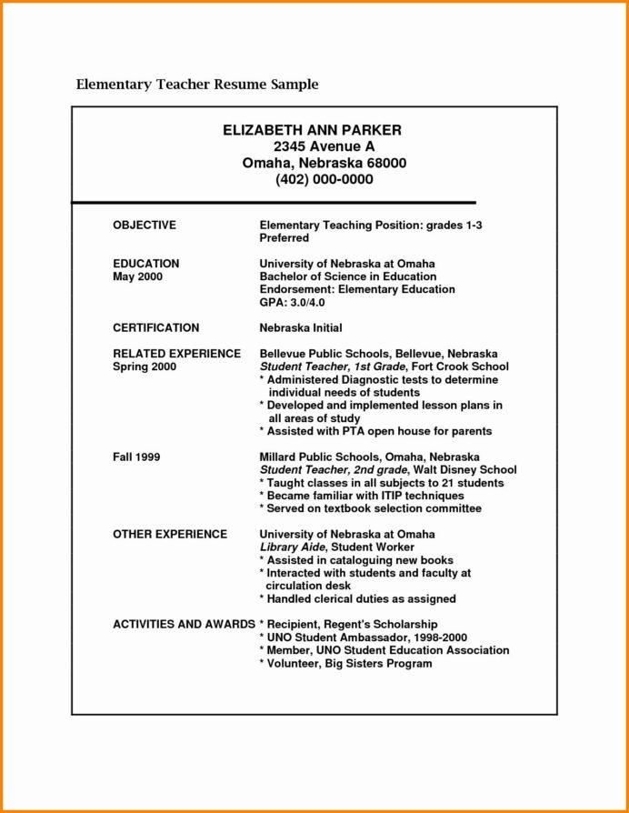 college resume objective examples awesome elementary teacher education teaching school Resume Elementary School Resume Objective