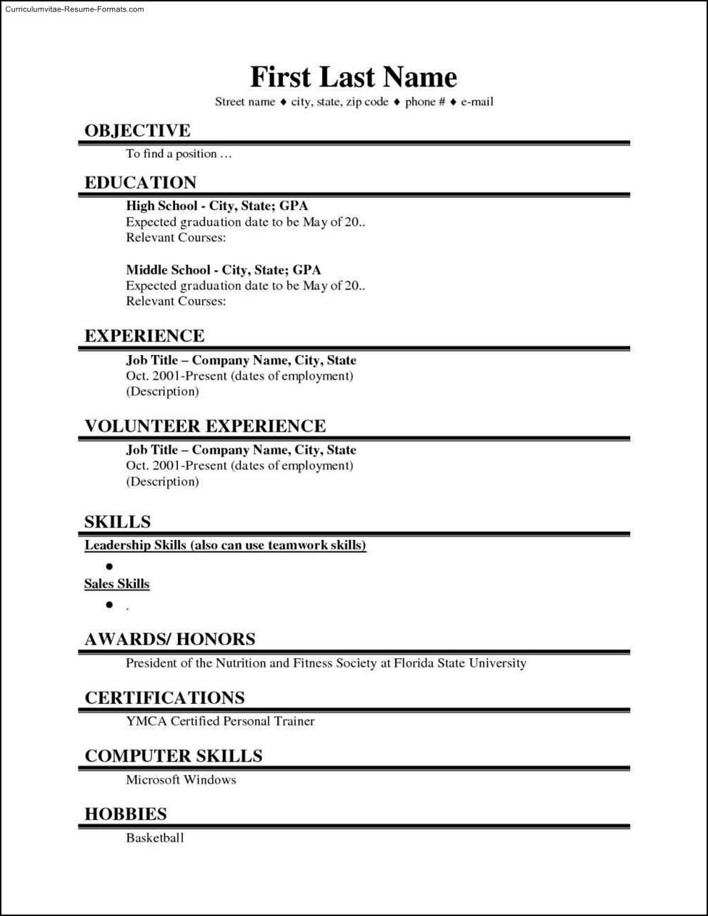 college student resume template microsoft word free sample within basic templates micr Resume High Schooler High School Resume Sample