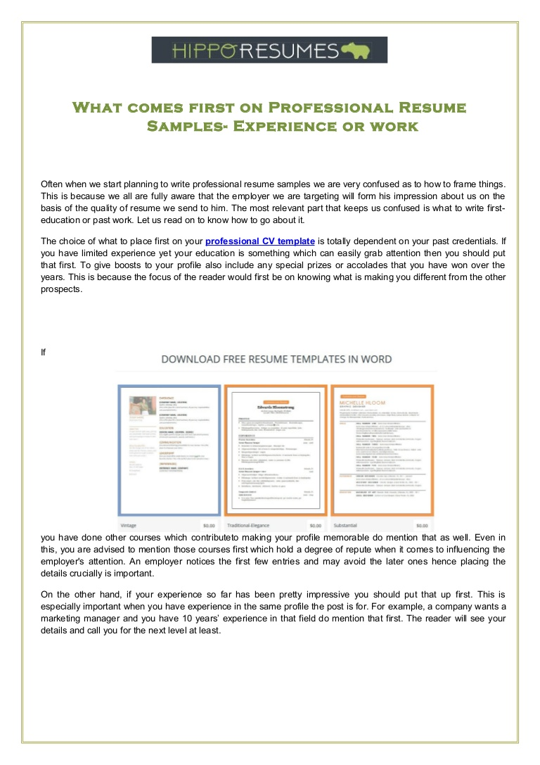 comes first on professional resume samples experience or work reader Resume Professional Reader Resume