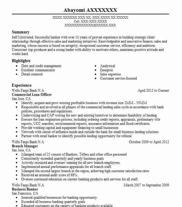commercial loan officer resume example resumes livecareer objective examples cna job Resume Loan Officer Resume Objective Examples