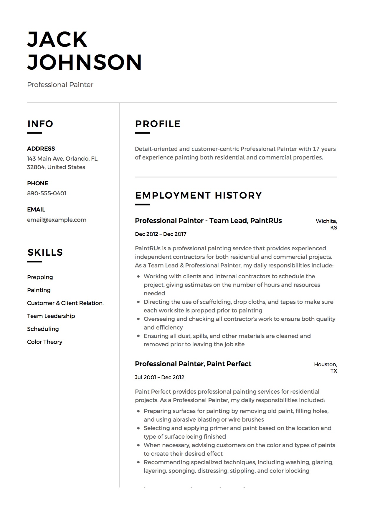 commercial painter resume guide samples pdf examples professional build on microsoft word Resume Painter Resume Examples