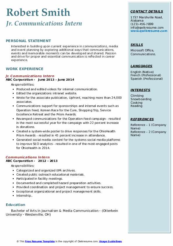communications intern resume samples qwikresume internship pdf with clinical experience Resume Communications Internship Resume