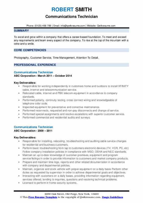 communications technician resume samples qwikresume voice and data pdf child care Resume Voice And Data Technician Resume