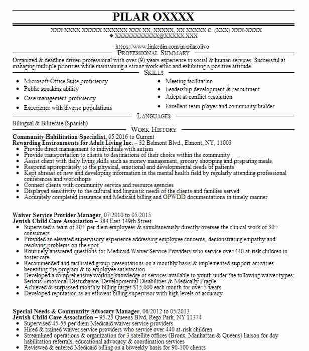 community habilitation specialist resume example thrive network fort entry level personal Resume Community Habilitation Specialist Resume
