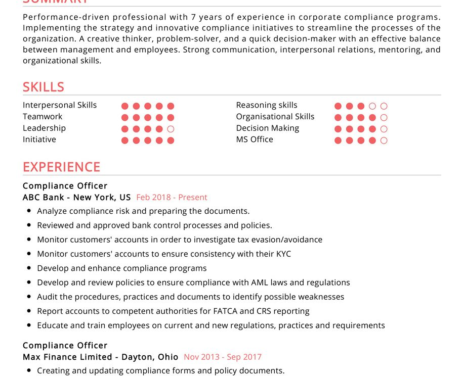 compliance officer resume examples cv sample resumekraft initiative skills 913x750 free Resume Initiative Skills Resume Examples