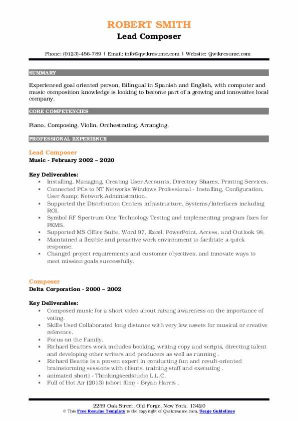 composer resume samples qwikresume music composition pdf mortgage format event Resume Music Composition Resume