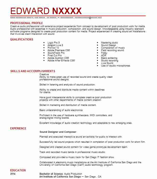 composer sound designer resume example this is pop los angeles music composition research Resume Music Composition Resume