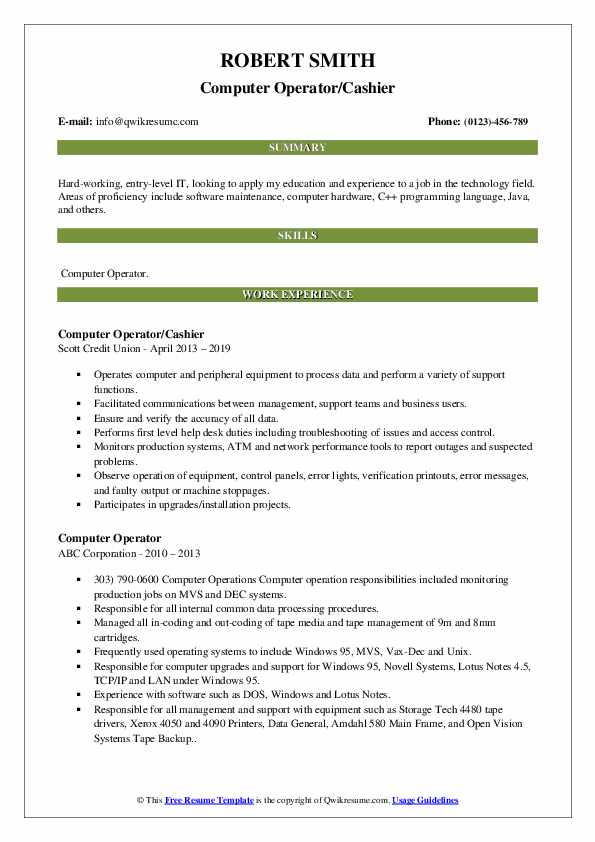 computer operator resume samples qwikresume best format for pdf creator client management Resume Best Resume Format For Computer Operator