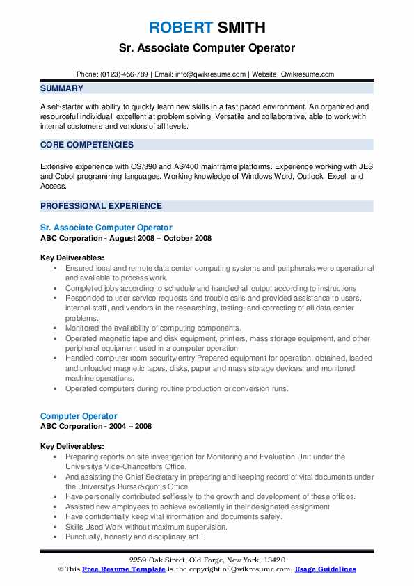 computer operator resume samples qwikresume best format for pdf experienced nurse client Resume Best Resume Format For Computer Operator