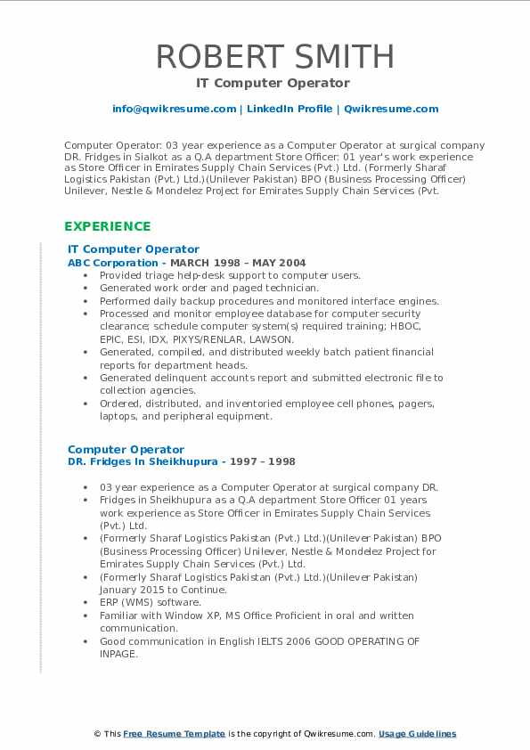 computer operator resume samples qwikresume best format for pdf team leader creator free Resume Best Resume Format For Computer Operator
