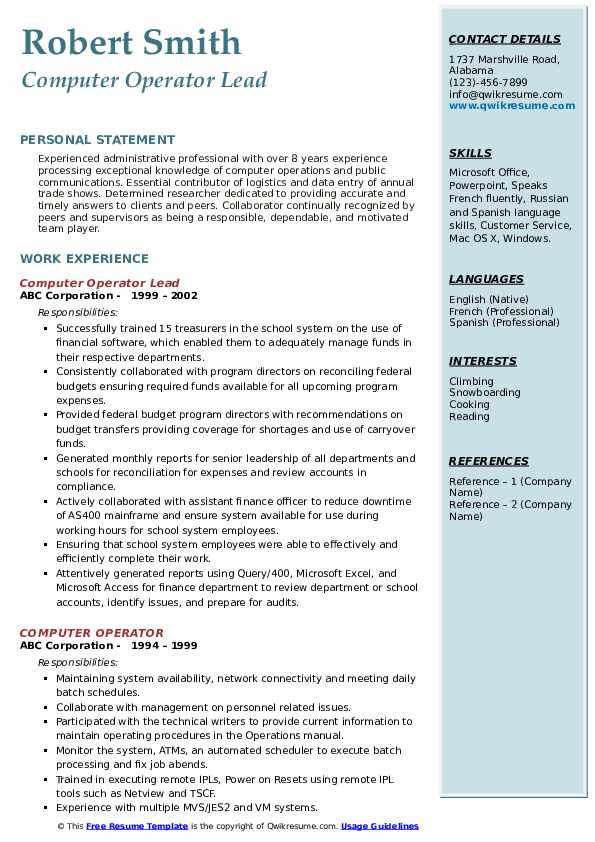 computer operator resume samples qwikresume best format for pdf unc career services free Resume Best Resume Format For Computer Operator