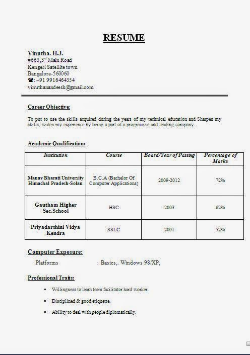 computer resume objective for construction examples format fresher 12th pass cricket Resume Resume Format For Fresher 12th Pass