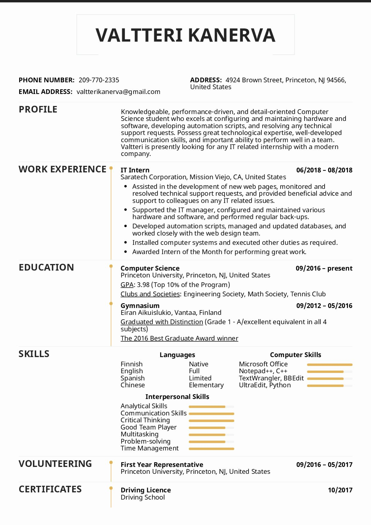 computer science internship resume inspirational examples by people it intern template Resume Example Of A Resume For Internship