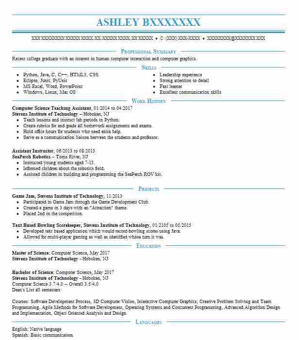 computer science teaching assistant resume example university of minneapolis graphics Resume Computer Graphics Resume