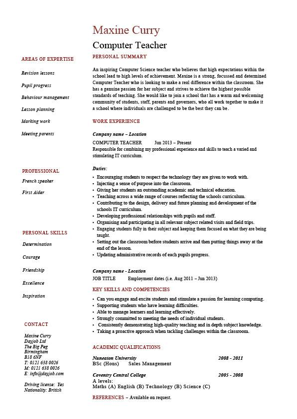 computer teacher resume example sample it teaching skills classroom job school work skill Resume Skill Set For Teacher Resume