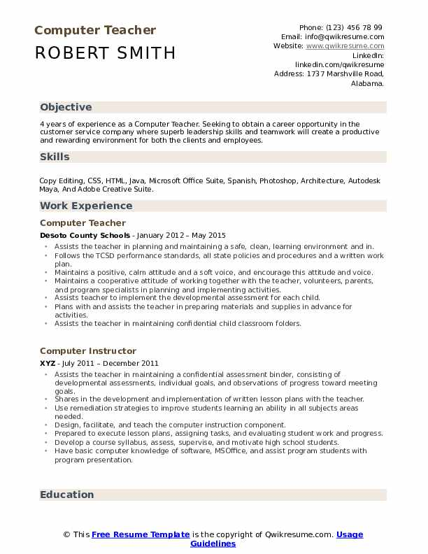 computer teacher resume samples qwikresume good with computers on pdf construction Resume Good With Computers On Resume
