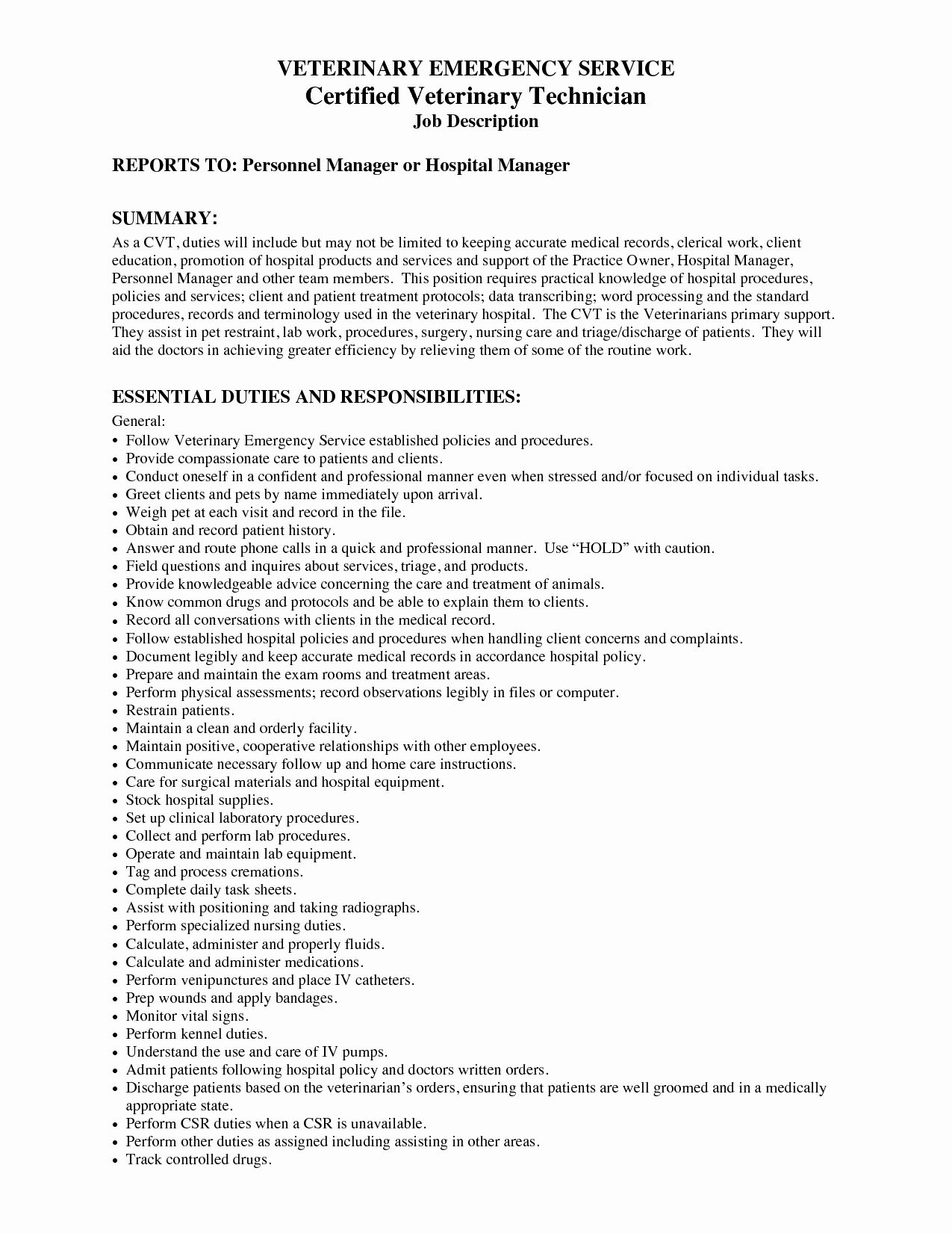 computer technician job description resume inspirational veterinary asu asubeeb vet tech Resume Vet Assistant Job Description Resume