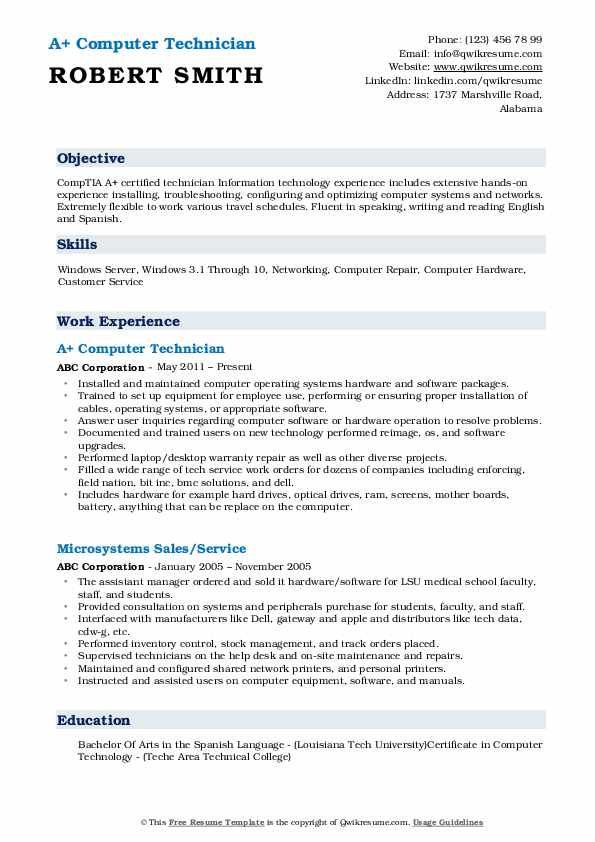 computer technician resume samples qwikresume service pdf army 88m entry level Resume Computer Service Technician Resume