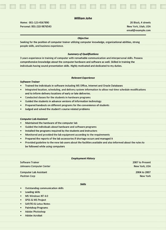 computer trainer resume sample microsoft word literate relevant coursework on example Resume Computer Literate Resume Sample