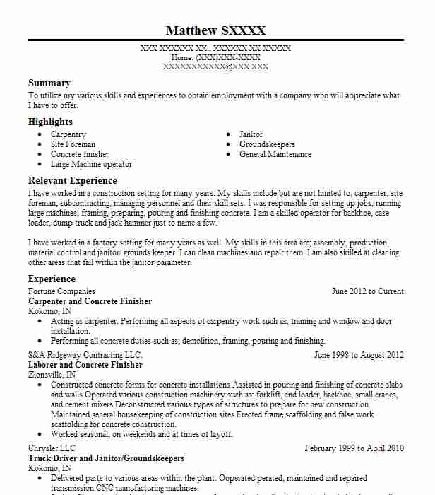 concrete carpenter resume example mumford and townsend project manager template outline Resume Concrete Carpenter Resume