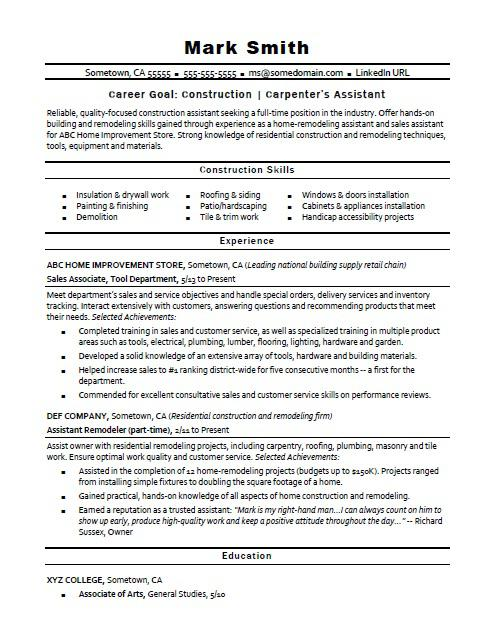 construction carpenter assistant resume sample monster experience chef cover letter Resume Construction Experience Resume